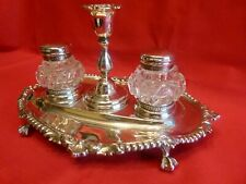 STUNNING 1859 SOLID SILVER & CUT GLASS INKSTAND WITH NIGHT LIGHT HOLDER.LOVELY!.