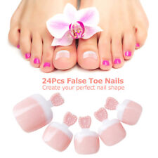 24Pcs False Toenail Tips Set French Full Cover Fake Toe Nail Tips for DIY Manicu