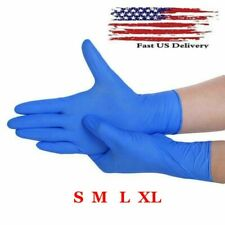 100 Pcs Nitrile Blue Durable Rubber Cleaning Hand Gloves Powder Latex Free USA !
