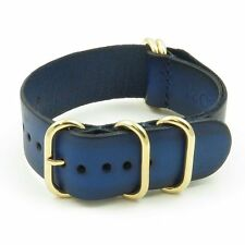 StrapsCo Vintage Leather Watch Band Strap in Blue w/ PVD Yellow Gold Rings
