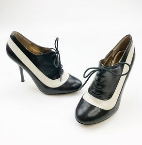 DUNE Oxford Heels Womens Sz 39 Black White 4 Inch High Lace Up CLASSIC