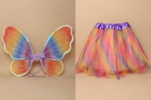 Rainbow Fancy dress Childrens wings tutu set world book day party dress up