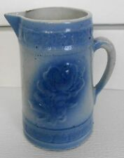 "Antique Blue & White Salt Glaze Stoneware AMERICAN BEAUTY ROSE Pitcher Jug 9"""
