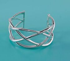 Gorgeous Tiffany & Co. Sterling Silver Wide Knot Bangle Cuff Bracelet