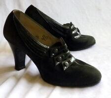 Vintage 1920s Black Suede Shoes Heels Size 4 1/2 Art Deco