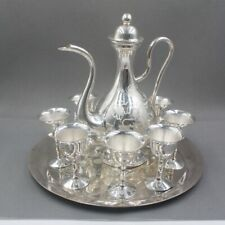 Solid 999 Sterling Silver Art Full Handmade Wine pot and Cups , Healthy