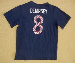 TEAM USA United States Soccer #8 CLINT DEMPSEY T-SHIRT Size Kid YOUTH LARGE Boys