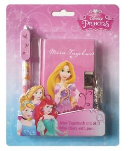 "Mini-Tagebuch Disney ""Princess"" mit Stift, Schloss + 2 Schlüsseln Kindertagebuch"