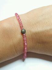 Genuine .3ct pave Diamond 8ctw 4mm pink Topaz 925 silver bracelet 7.5 inches