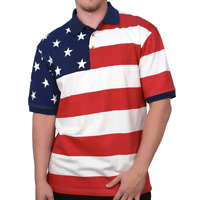 American Flag Patriotic Men's Polo Shirt 4th of July America Stars and Stripes