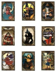 """Vtg Halloween Witch's Repro Cotton Fabric Quilt Blocks (9) Images @ 2X3""""  Each"""