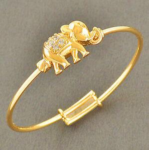 Safety Elephant Gold baby children little girls kids bangle bracelet Toddler