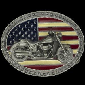 Motorcycle American Flag Biker USA Rider Veteran Western Gift Belt Buckle