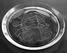 SANTA CLAUS EMBOSSED GLASS SERVING TRAY CAKE PLATE 13""