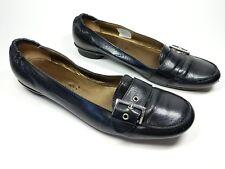 MANAS LEA FOSCATI Italien Fabriqué en Cuir Noir Plates Chaussures UK 8 EU 41