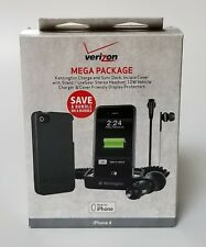 iPhone 4 Mega Package Charge Dock, Cover w/Stand, Stereo Headset, Car Charger