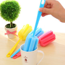 3Pcs Kitchen Handle Sponge Brush Bottle Cup Glass Washing Cleaning Cleaner Tools
