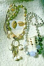vintage style NEW jewelry lot 2 bead necklace 4 earrings silver tone gold tone