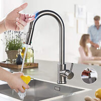 Touch Sensor Kitchen Faucet Pull Down Sprayer Stainless Steel Sinke Mixer Tap
