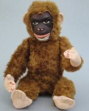 Impex Germany Monkey Chimp 12in Hard Painted Face Rayon Plush Rod Jointed Vtg