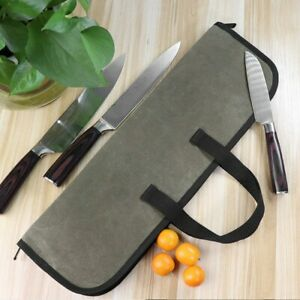 4 Slots Chef Knife Hand Bags Zipper Canvas Kitchen Cooking Tool Storage Case