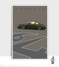 "Olive Green Porsche 964 Outlaw. Art Print on Aluminum 24""x 36"""
