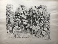 Lithografie Windiger Tag im Garten 1960 signiert Hamburg? 47 x 60 cm