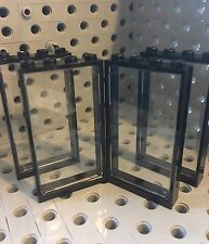 Lego Doors 1x4x6 Black Door Frames With Trans Clear Glass Wall Elements Set Of 4