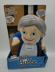 ASK BUBBE Talking Jewish Grandma Plush Doll NEW Mensch On A Bench Hanukkah E7
