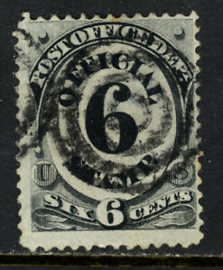 SCOTT O50 1873 6 CENT POST OFFICE DEPARTMENT OFFICIAL ISSUE USED F!