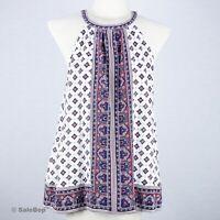 NWT NEW $198 Joie Halter Top Silk Cold Shoulder Keyhole Boho Print Tank Size M