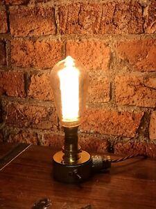 Desk Lamp Light Industrial Vintage Retro Steampunk Galvanised & Brass (Whiskey)