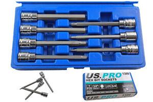 US Pro Extra Long Hex Bit Socket Set 3/8'' Dr HEX Allen Keys H3 4 5 6 7 8 10mm