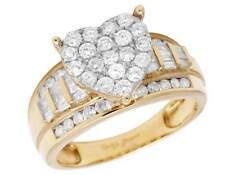 10K Yellow Gold Heart Baguette Genuine Diamond Ladies Engagement Ring 1.0ct 10MM