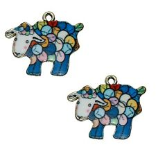 2 x  Sheep Enamel Pendant Charms