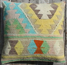 (50*50cm, 20inch) Boho style vintage handwoven kilim cover yellow aqua pastels