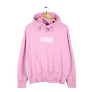 Tommy Jeans Womens Oversized Fit Pink Embroidered Spell Out Hoodie - Size L