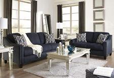Modern Living Room Couch Set Furniture BLUE Microfiber Fabric Sofa Loveseat IG0R