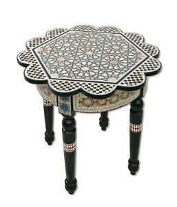 W165 Handmade Mother Of Pearl Inlaid Art Egyptian Round / Rose End Side Table