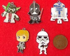 """Set of 5 X Star Wars Enamel Charms - Luke R2D2 Darth Vader Storm Trooper & Yoda"