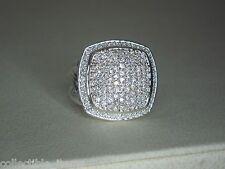 "DAVID YURMAN ALBION 17MM PAVE DIAMOND STERLING SILVER 7/8"" X 7/8"" RING size 7"