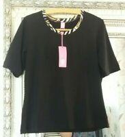 BNWT Basler Ladies Black Leopard Print Collar Cotton Mix Smart Luxury Top UK 16