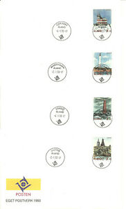ALAND - LIGHTHOUSES Åland Islands set 1992 on 4 COVERS