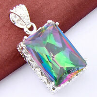 CT ! Rainbow Fire Topaz Oval Vintage Silver Necklace Pendant Jewelry  HL0471