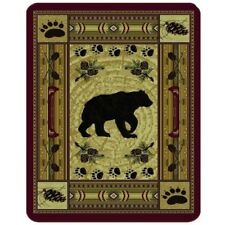 "Native Bear Lodge Cabin High Quality Soft Plush Faux Fur Blanket QUEEN 79"" x 96"""