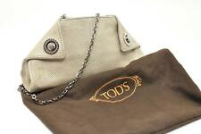 TOD'S Sand Embossed leather Evening Bag Clutch Removable Strap Crystal Clasp
