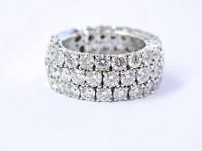 18Kt Round Cut Diamond 3-Row White Gold Band Ring 5.72Ct Size 6.5