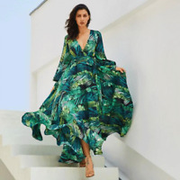 Long Sleeve Dress Floral Beach Vintage Maxi Dresses Boho V Neck Belt Tunic Dress