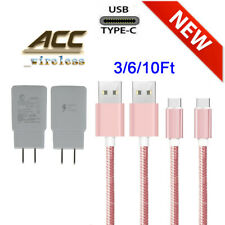 For Samsung Galaxy Note8 S8 S9 S10 Fast Wall Charger 3/6/10Ft Type-C USB-C Cable