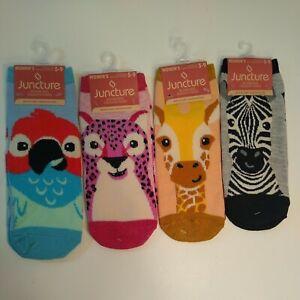 Jungle Safari Women's No Show New Socks 4-PK Zebra Giraffe Parrot Owl Size 5-9